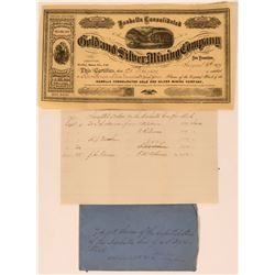 Rare Isabella Consolidated Gold and Silver Mining Company Stock and Letter (Bodie, California)  (123