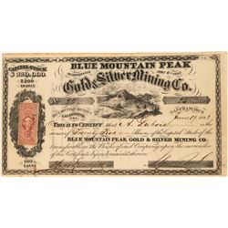 Blue Mountain Peak Gold & Silver Mining Company Stock Certificate  (122856)