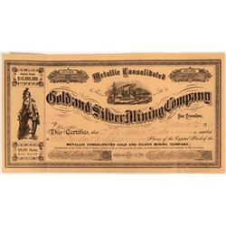 Metallic Consolidated Gold and Silver Mining Company Stock, Lake District, near Mammoth Lakes  (1231