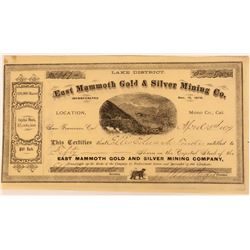 East Mammoth Gold & Silver Mining Company Stock  (123168)