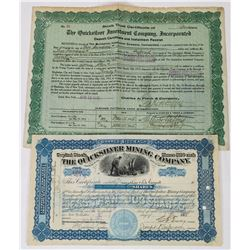 Two New Alamaden Quicksilver Mining Stock Certificates  (113711)