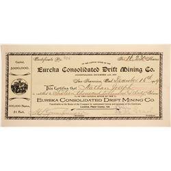 Eureka Consolidated Drift Mining Co. Stock Certificate  (88422)