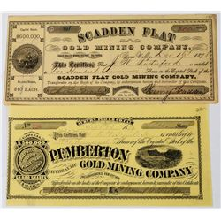 Two 1870s California Mining Stock Certificates  (113657)