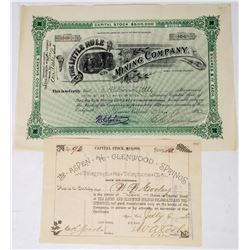 Two Good Aspen Stock Certificates: Mining and Telegraph  (113760)