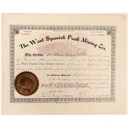 West Spanish Peak Mining Co Stock Certificate  (118614)