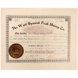 West Spanish Peak Mining Co Stock Certificate  (118614)