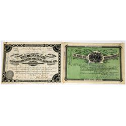 Two Different Leadville Mining Stock Certificates: Denver City and Miner Boy  (113681)