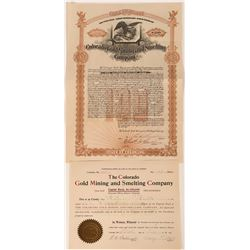 Colorado Gold Mining & Smelting Co Stock Certificate & Gold Bond (2)  (118596)