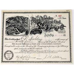 Black Wonder & West End Gold Mining Co. Stock Certificate  (113696)