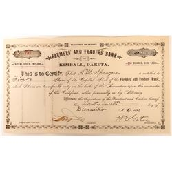 Farmer's & Trader's Bank of Kimball, Dakota Stock, D.T. 1886  (118582)