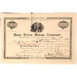 New State Mining Co Stock issued to Lee Mantle, Montana Senator & Partner  (118606)