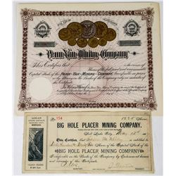 Two Pictorial Montana Mining Stock Certificates  (113761)
