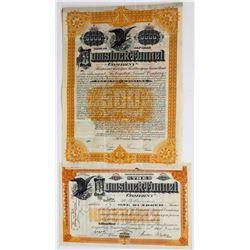 Comstock Tunnel Company Stock Certificate & Bond  (113676)