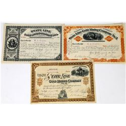 Three Different State Line Gold Mining Company Stock Certificates  (113693)