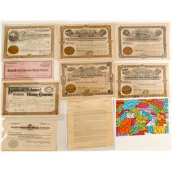 Goldfield Mining Stock Certificates (8)  (88430)