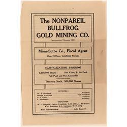 Nonpareil Bullfrog Gold Mining Company Prospectus / Advertisement  (123173)