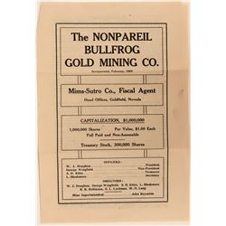 Nonpareil Bullfrog Gold Mining Company Prospectus / Advertisement  (123173)