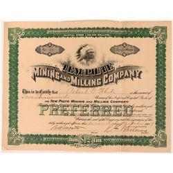 Tem Piute Mining & Milling Co Stock Certificate, Nevada, 1907  (118592)