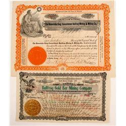 Bullfrog Mines Stock Certificates (2)  (88415)