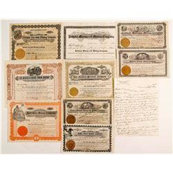 Nine Goldfield Mining stock, letter & map  (88420)