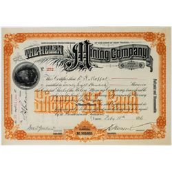 Helen Mining Co. Stock Issued to & Signed by David Moffat  (113755)