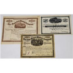 Three Different Early New Mexico Mining Stock Certificates  (113773)