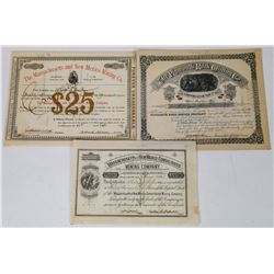 Three Different New Mexico Mining Stock Certificates  (113770)
