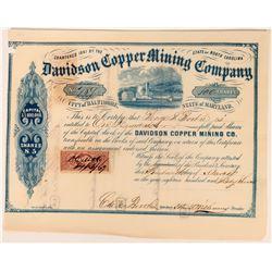 Davidson Copper Mining Stock Certificate, No. Carolina, 1867  (118587)
