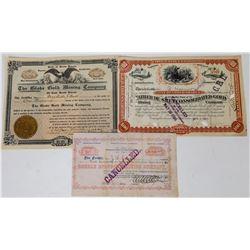 Three Different Black Hills Mining Stock Certificates  (113768)