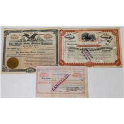 Three Different Black Hills Mining Stock Certificates  (113768)