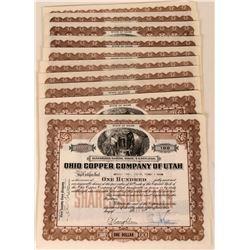 Ohio Copper Company of Utah Stock Certificates (10)  (124823)