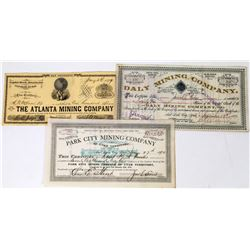 Three Different Utah Mining Stock Certificates  (113686)