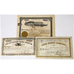 Three Different Utah Mining Stock Certificates  (113685)