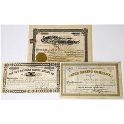 Three Different Utah Mining Stock Certificates  (113685)