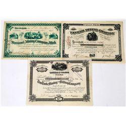 Three Different Utah Mining Stock Certificates  (113684)