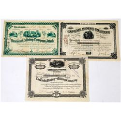 Three Different Utah Mining Stock Certificates  (113684)