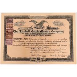 Kimball Creek Mining Company Stock, King's County, Washington, 1902  (118584)