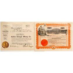 Rosebud Mining Certificate/Golden Triangle Stock Certificate  (88434)
