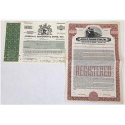 Two Joseph Seagram Stock Certificates  (119381)