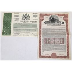 Two Joseph Seagram Stock Certificates  (119381)