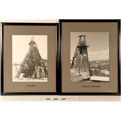 Kennedy and Argonaut Mine Head Frames - 4 B&W Photos  (125072)