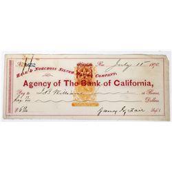 Extra Rare Hale & Norcross Mining Revenue Check Signed by James Fair  (113640)