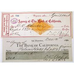 Two DL Bliss Signed Comstock Checks incl. Palace Hotel  (113646)