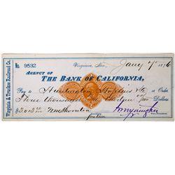 Virginia & Truckee Railroad Revenue Check to Huntington & Hopkins w/ Yerington Autograph  (113641)