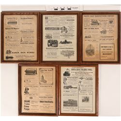 Antique Mining Advertising - 5 Framed Pages   (125187)