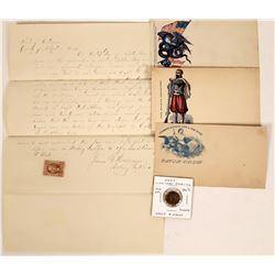 Civil War Theft report, Envelopes & Token  (122180)