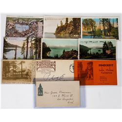 Lake Tahoe Postal History: Tahoe Tavern Pictorial Cover plus Early Postcards  (113650)
