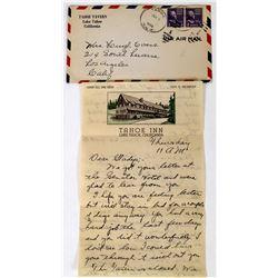 Tahoe Tavern Air Mail Cover & Pictorial Letterhead  (113652)