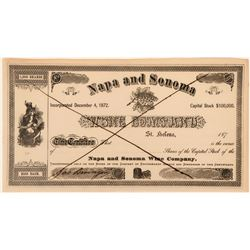 Napa and Sonoma Wine Company Unissued Stock Certificate signed by wine magnate Jacob Beringer  (1231