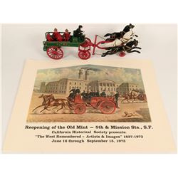 San Francisco Mint & Fire Patrol Posters (2) & Wrought Iron Model Toy  (124813)